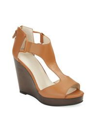 Kenneth Cole | Brown Hayley Leather Platform Wedge Sandals | Lyst