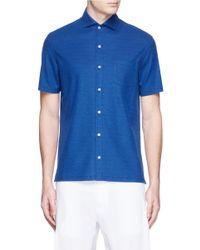 Isaia | Blue Cotton Piqué Shirt for Men | Lyst