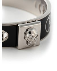 Alexander McQueen | Black Enamel Skull Bangle | Lyst
