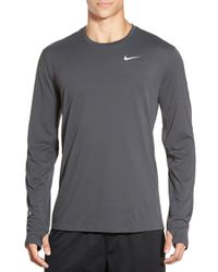 Nike | Gray Contour Long-Sleeved Dri-fit Running T-shirt for Men | Lyst