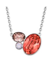 Swarovski | Red Rhodiumplated Rose Crystal Cluster Pendant Necklace | Lyst
