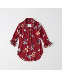 Abercrombie & Fitch - Red Tie-neck Blouse - Lyst