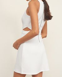 Abercrombie & Fitch - White Bubble Knit Cutout Skater Dress - Lyst