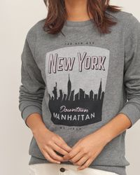 Abercrombie & Fitch - Gray Nyc Graphic Crew Sweatshirt - Lyst