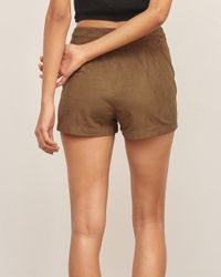 Abercrombie & Fitch | Brown Faux Suede Short | Lyst
