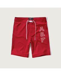 "Abercrombie & Fitch - Red 9"" Board Fit Swim Shorts for Men - Lyst"