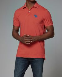 Abercrombie & Fitch - Red Pop Icon Polo for Men - Lyst