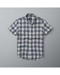 Abercrombie & Fitch   Blue Check Linen Shirt for Men   Lyst