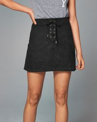 Abercrombie & Fitch - Black Faux Suede Lace-up Skirt - Lyst