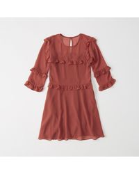 Abercrombie & Fitch | Red Chiffon Ruffle Dress | Lyst