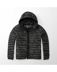 Abercrombie & Fitch - Black Ultra Lightweight Hooded Puffer Jacket - Lyst
