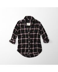 Abercrombie & Fitch - Black Embellished Flannel Button-up Shirt for Men - Lyst