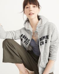 Abercrombie & Fitch | Gray Heritage Logo Sherpa Hoodie | Lyst