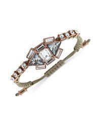 Vince Camuto - Pink Rose Goldtone Crystal and Macrame Cord Bracelet - Lyst