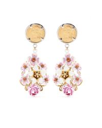 Dolce & Gabbana | Pink Crystal-Embellished Enamel Clipon Earrings | Lyst
