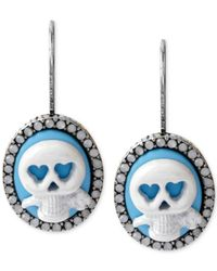 Betsey Johnson | Blue Silver-Tone Skull And Crystal Cameo Earrings | Lyst