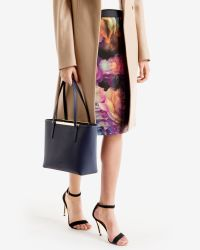Ted Baker | Blue Crosshatch Leather Shopper Bag | Lyst
