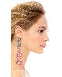 Oscar de la Renta - Pink Chain & Silk Tassel Earrings - Petal - Lyst
