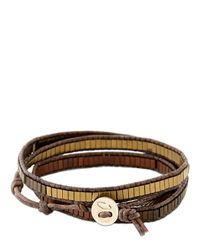Colana | Brown Leather Wrap Bracelet W/ Multi Hematite | Lyst