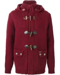 Bark - Red Knitted Duffle Coat for Men - Lyst