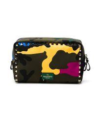 Valentino - Green 'Rockstud' Camouflage Make Up Bag - Lyst
