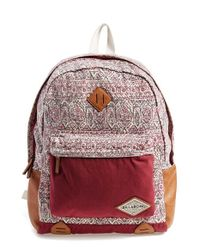 Billabong - Purple 'hidden Trek' Geo Print Canvas Backpack - Lyst