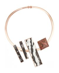 Eddie Borgo | Metallic Composition Collar Rose Gold-plated Jasper Necklace | Lyst