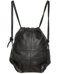 DIESEL | Black Leather Drawstring Backpack for Men | Lyst
