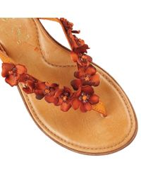 Lotus - Orange Florence Toe Post Sandals - Lyst