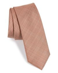 Calibrate | Orange Check Silk Tie for Men | Lyst