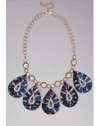 Bebe | Blue Marble Teardrop Necklace | Lyst