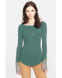 Free People | Blue 'newbie' Contrast Cuff Thermal Top | Lyst