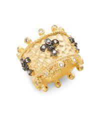 Freida Rothman | Metallic White Stone & 14k Yellow Gold Vermeil Fleur De Lis Ring | Lyst