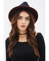 Forever 21 - Blue Colorblock Wool Fedora Hat - Lyst