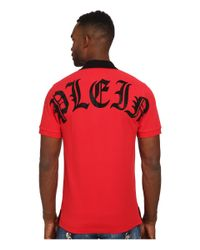 Philipp Plein | Red Gothic Issue Polo for Men | Lyst