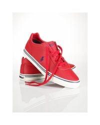 Polo Ralph Lauren - Red Leather Hanford Sneaker for Men - Lyst