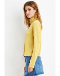 Forever 21 | Yellow Contemporary Buttoned-turtleneck Top | Lyst
