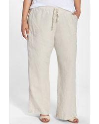 Allen Allen | Natural Drawstring Linen Pants | Lyst