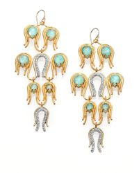 Alexis Bittar | Green White Quartz Amazonite Crystal Aigrette Chandelier Earrings | Lyst