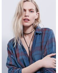 Free People - Blue Campfire Shirt Dress - Lyst