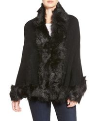 Cara | Black Faux Fur Trim Wrap | Lyst