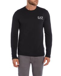 EA7 | Black Logo Crew Neck Regular Fit T-shirt for Men | Lyst
