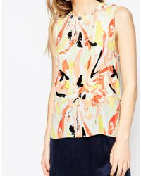 SELECTED | Pink Beauty Abstract Sleeveless Top | Lyst