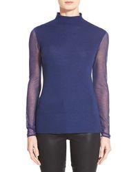 Elie Tahari - Blue 'maxina' Sheer Sleeve Merino Sweater - Lyst
