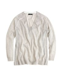J.Crew | White Merino Tipped Sidepanel Vneck Sweater | Lyst