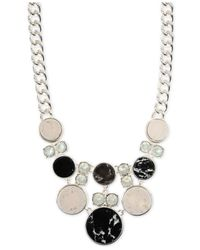 Anne Klein | Metallic Silver-Tone Black And White Stone Frontal Necklace | Lyst