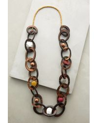 Anthropologie - Brown Woodlink Necklace - Lyst