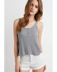 Forever 21 | Gray Ribbed Henley Tank | Lyst