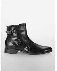 Calvin Klein | Black White Label Stark Triple Monk Strap Boot for Men | Lyst