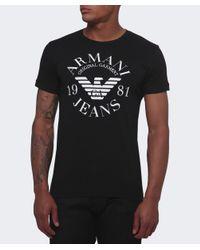 Armani Jeans | Black Print T-shirt for Men | Lyst